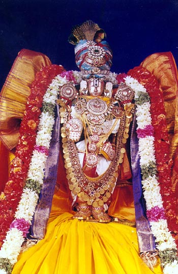Image of Lord balaji with his consorts during Brahmotsavam